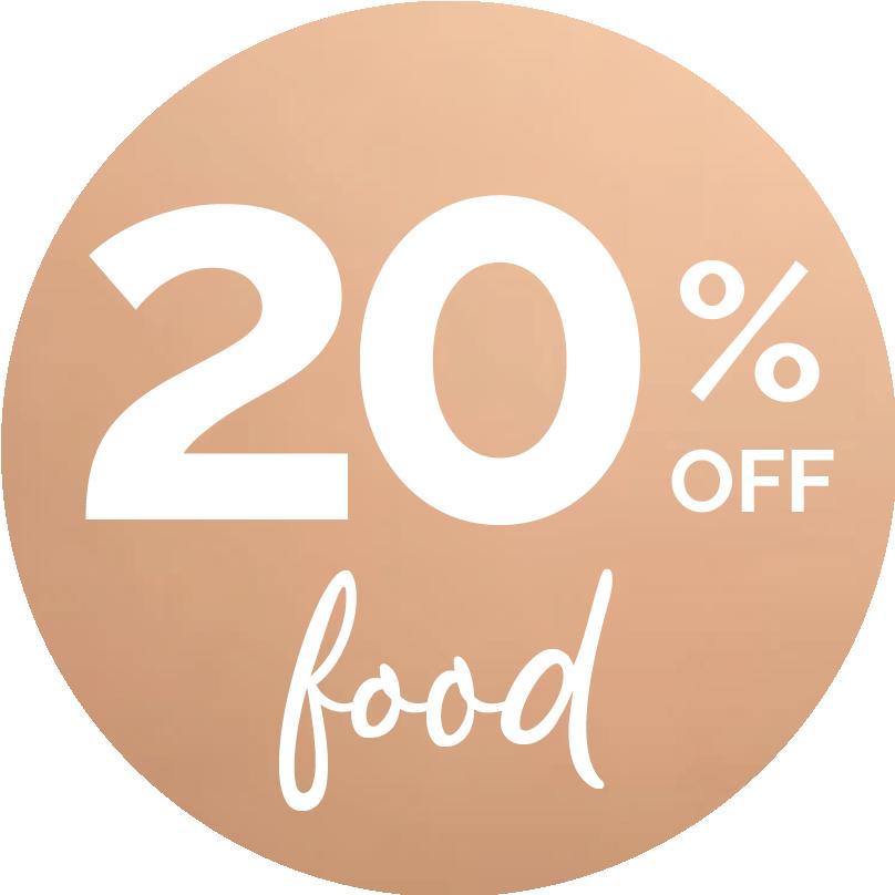 20% off food