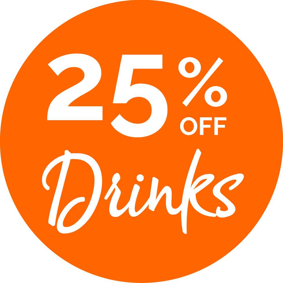 25% off drinks