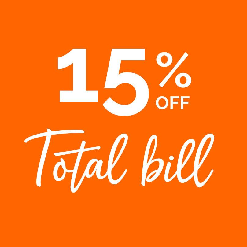 15% off total bill